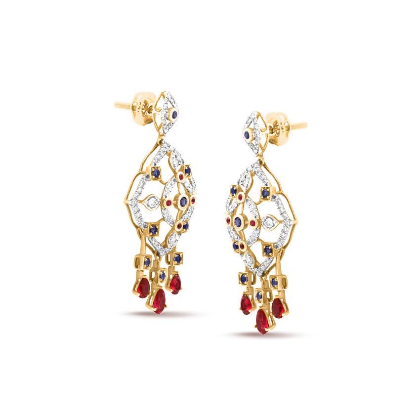 Diamond,Gemstone Earrings 18 Karat Rose Gold Mystic Dazzle Gemstone Drop Earring