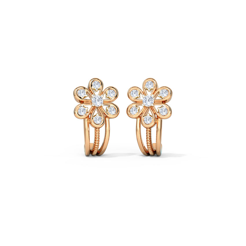 Diamond Earrings 14 Karat Rose Gold Aster Diamond Hoop Earrings
