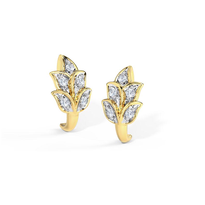 Diamond Earrings 14 Karat Yellow Gold Tulip Diamond Hoop Earrings