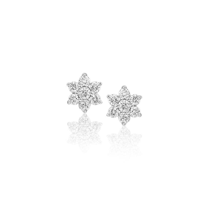 Diamond Earrings 18 Karat Yellow Gold Wink Cluster Diamond Stud Earrings