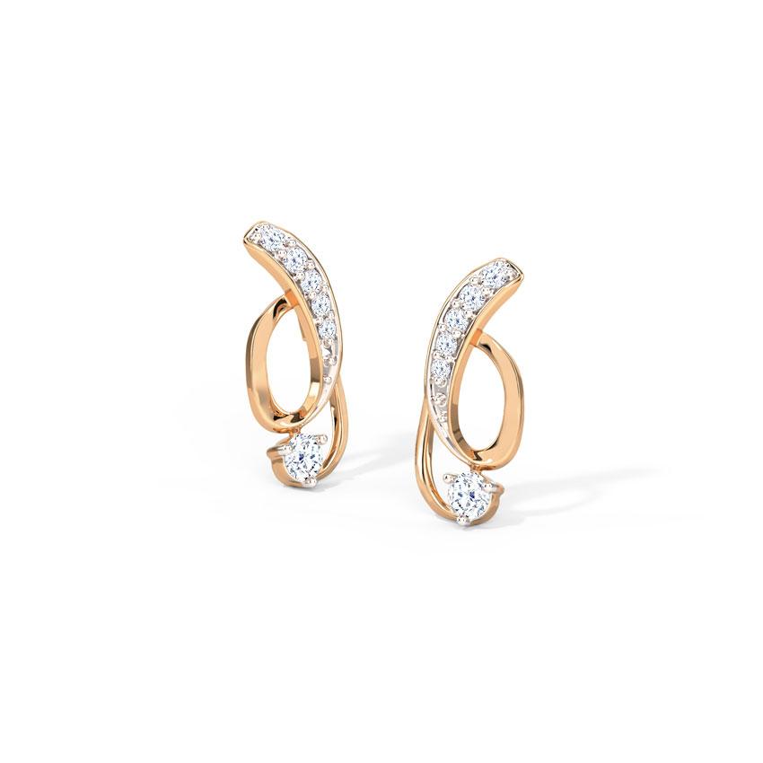Diamond Earrings 14 Karat Rose Gold Twirly Diamond Stud Earrings