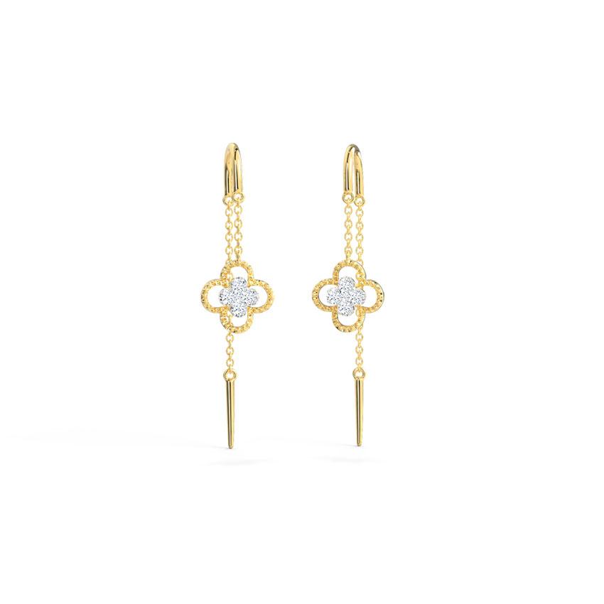 Diamond Earrings 14 Karat Yellow Gold Ornate Clover Diamond Sui Dhaga