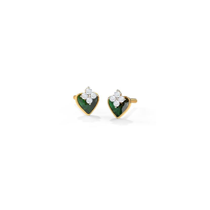 Diamond Earrings 14 Karat Yellow Gold Pretty Green Diamond Stud Earrings