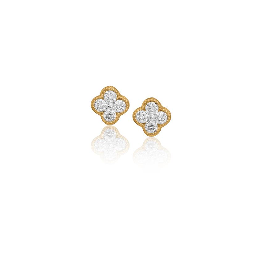 Diamond Earrings 18 Karat Yellow Gold Clover Diamond Stud Earrings