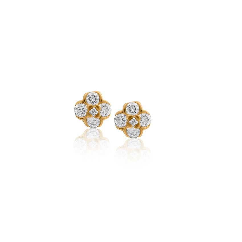 Diamond Earrings 18 Karat Yellow Gold Alina Cute Stud Earrings