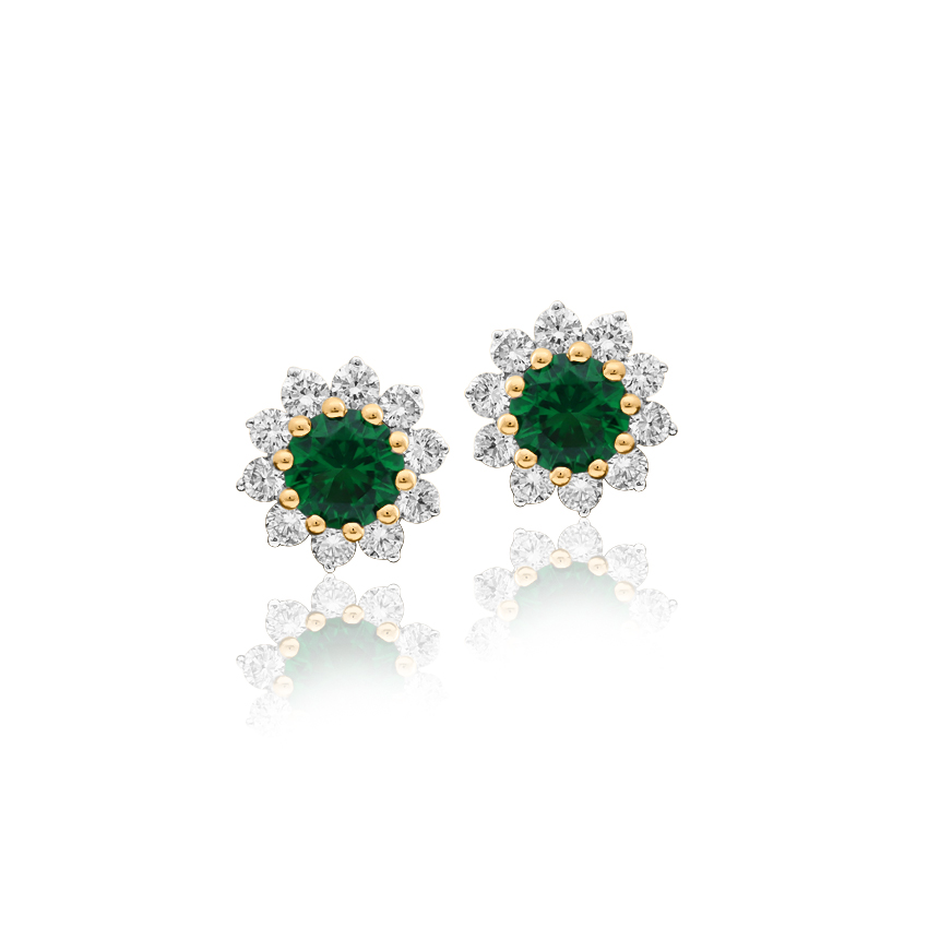 Diamond,Gemstone Earrings 18 Karat Yellow Gold Anne Imperial Gemstone Stud Earrings