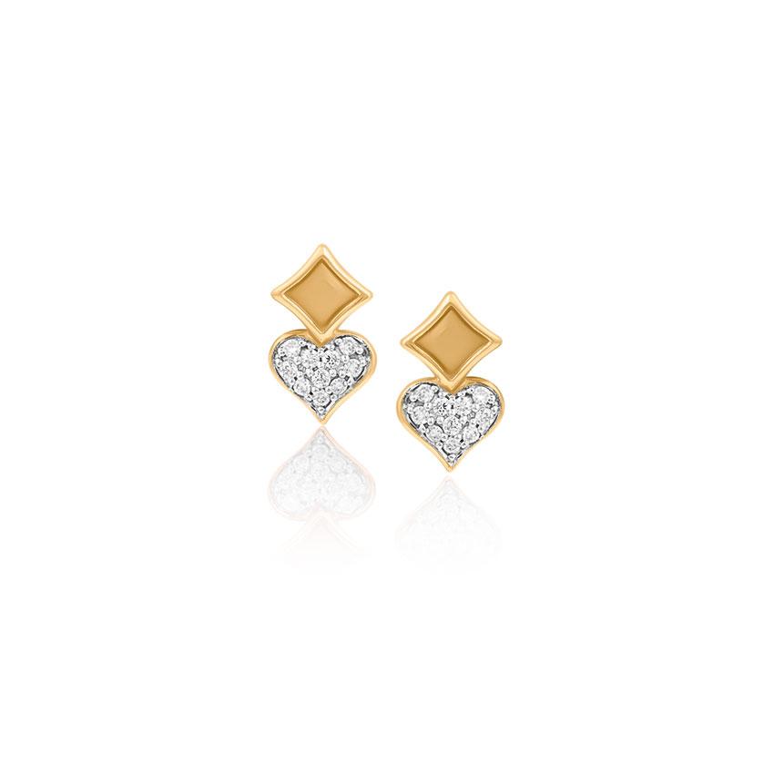 Diamond Earrings 14 Karat Yellow Gold Ella Royal Diamond Stud Earrings