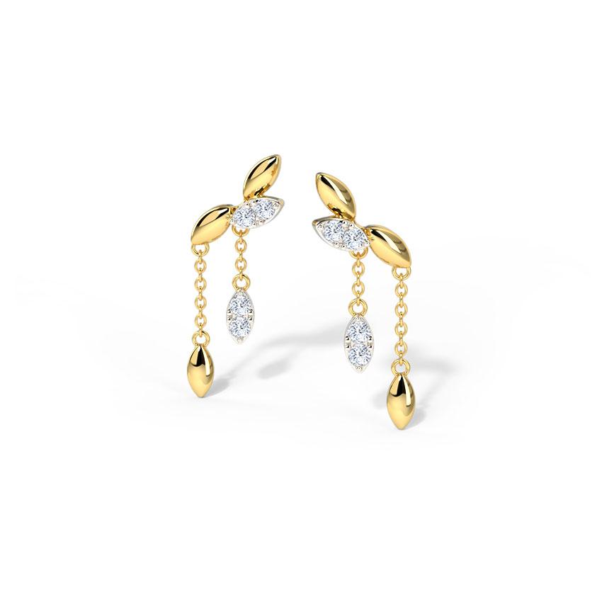 Diamond Earrings 14 Karat Yellow Gold Falling Leaves Diamond Drop Earrings