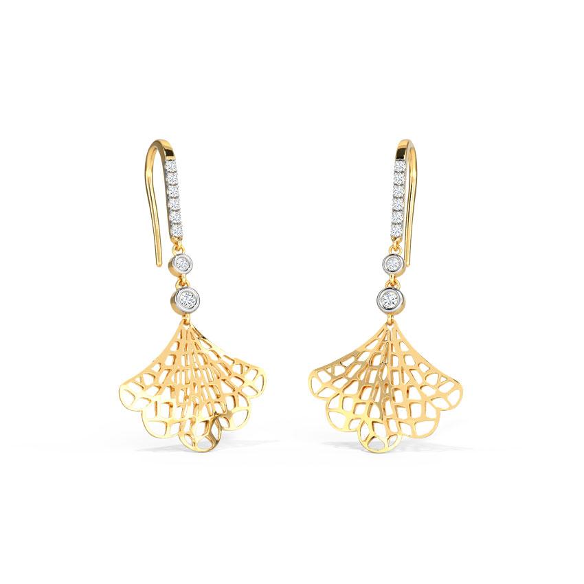 Diamond Earrings 14 Karat Yellow Gold Intricate Flare Drop Earrings