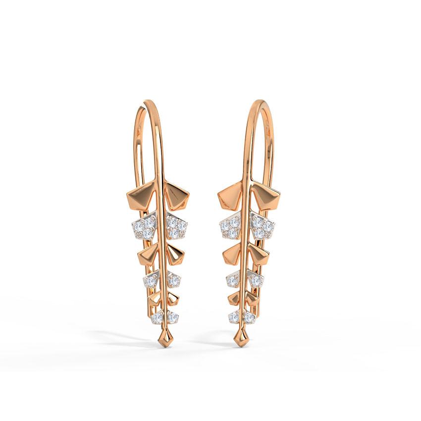 Diamond Earrings 14 Karat Rose Gold Dazzling Fern Drop Earrings