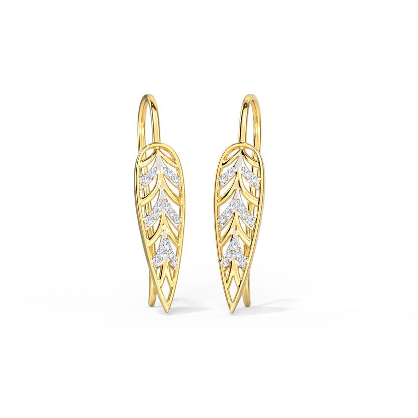 Sleek Frond Drop Earrings