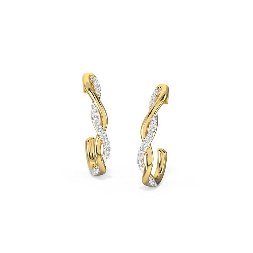 Diamond Earrings 14 Karat Yellow Gold Intertwine Diamond Hoop Earrings