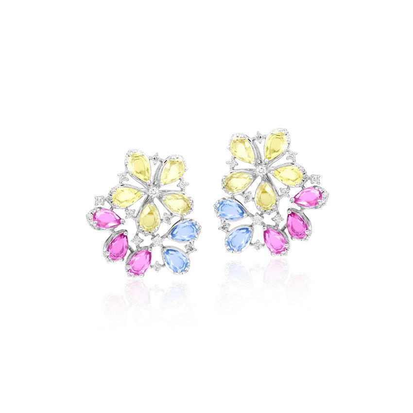 Diamond,Gemstone Earrings 18 Karat White Gold Drishti Floweret Gemstone Stud Earrings