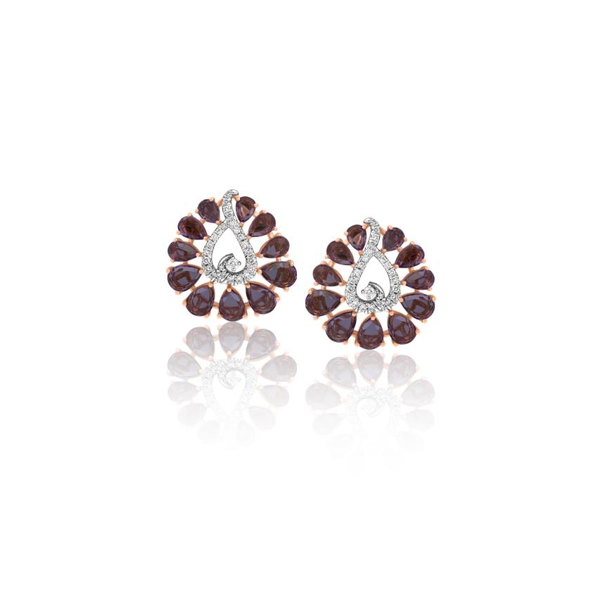 Diamond,Gemstone Earrings 18 Karat Rose Gold Tripti Bloom Gemstone Stud Earrings