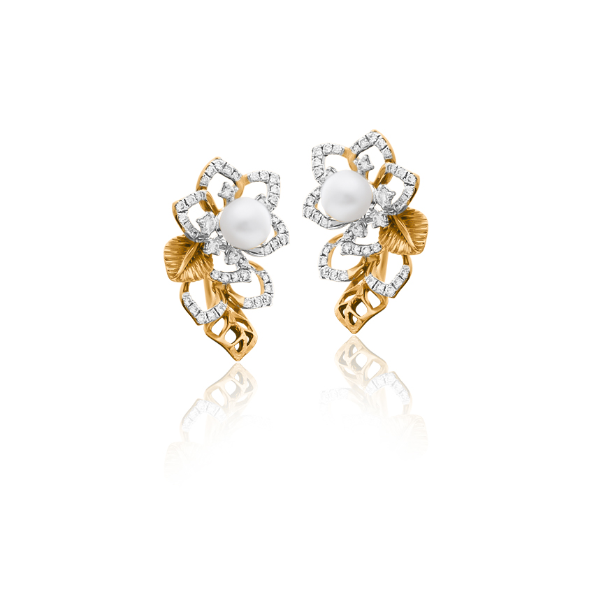 Diamond,Gemstone Earrings 18 Karat Two Tone Gold Ella Blossom Gemstone Ear Cuff