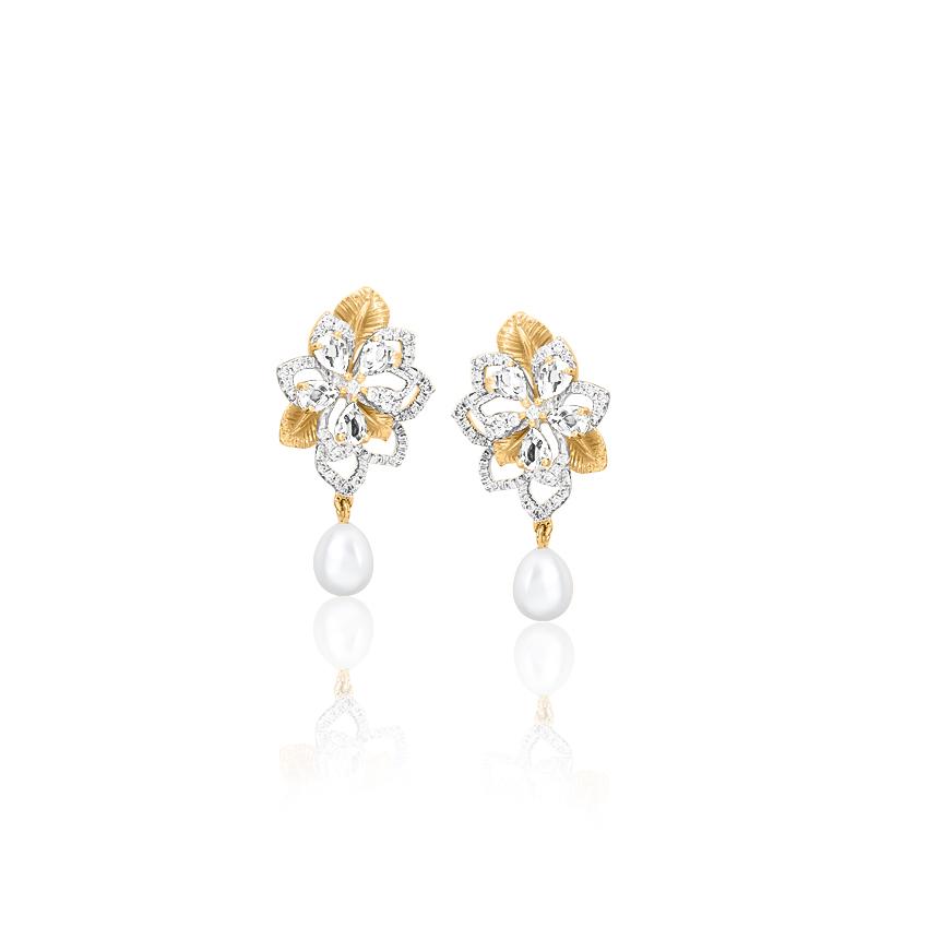 Diamond,Gemstone Earrings 18 Karat Two Tone Gold Floret Pearl Gemstone Drop Earrings