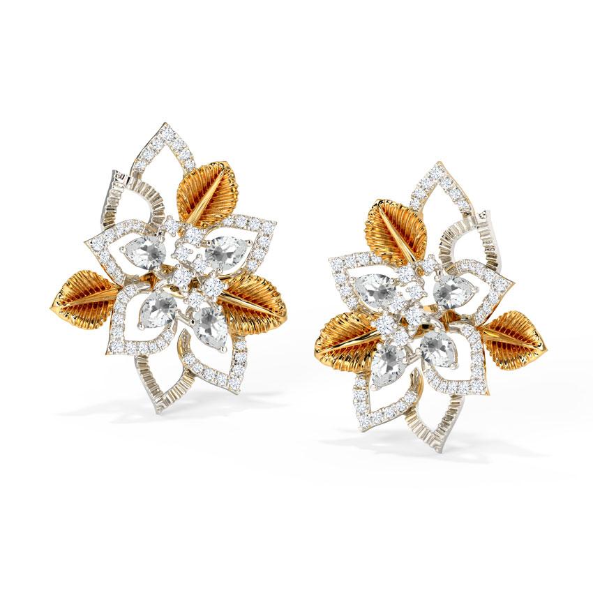 Diamond,Gemstone Earrings 18 Karat Two Tone Gold Delightful Bloom Gemstone Stud Earrings