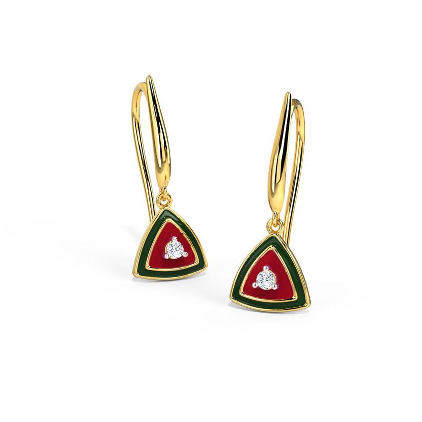 Diamond Earrings 14 Karat Yellow Gold Trillium Diamond Drop Earrings