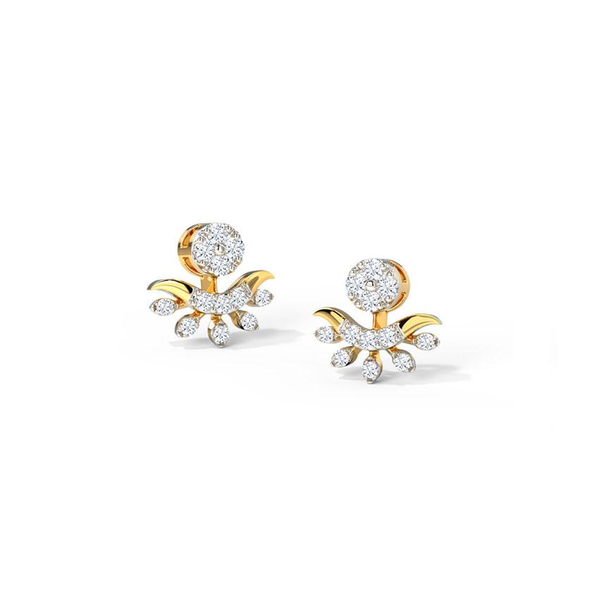 Diamond Earrings 14 Karat Yellow Gold Gleaming Leaflet Diamond Stud Earrings
