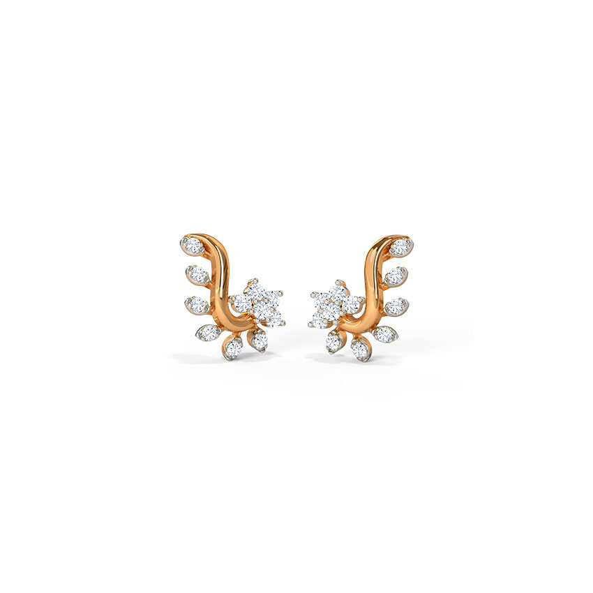 Floral Leaf Stud Earrings