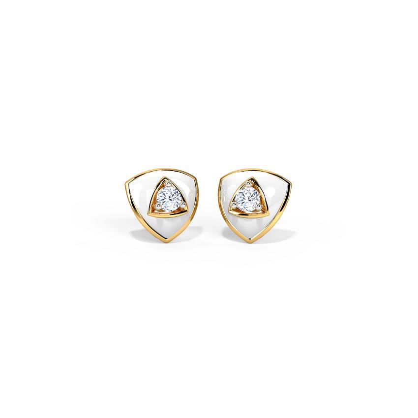 Diamond Earrings 14 Karat Yellow Gold Triad Diamond Stud Earrings