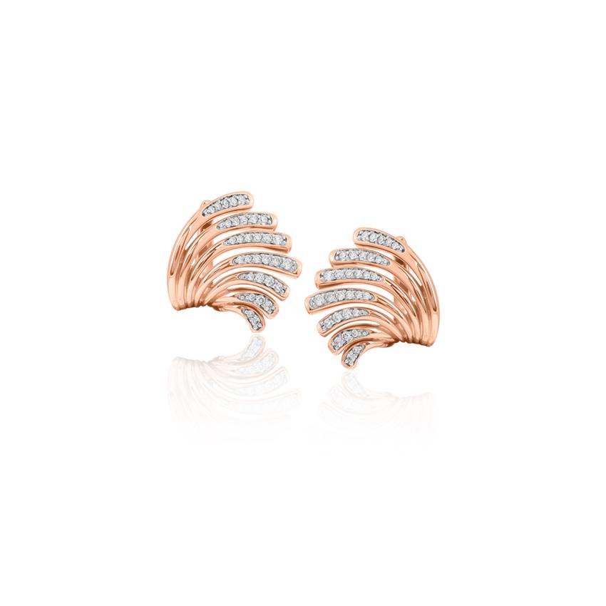 Diamond Earrings 18 Karat Rose Gold Dazzling Wave Diamond Stud Earrings