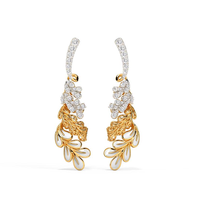 Diamond Earrings 14 Karat Yellow Gold Celebration Bloom Diamond Drop Earrings