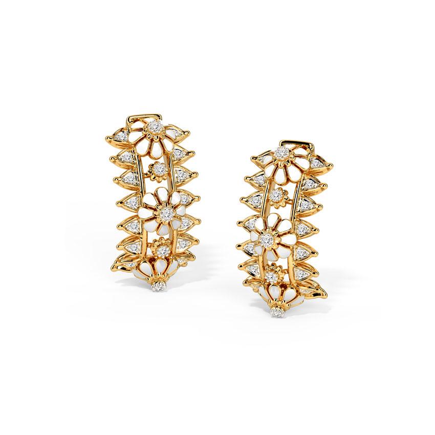 Diamond Earrings 14 Karat Yellow Gold Embrace Yourself Diamond Hoop Earrings