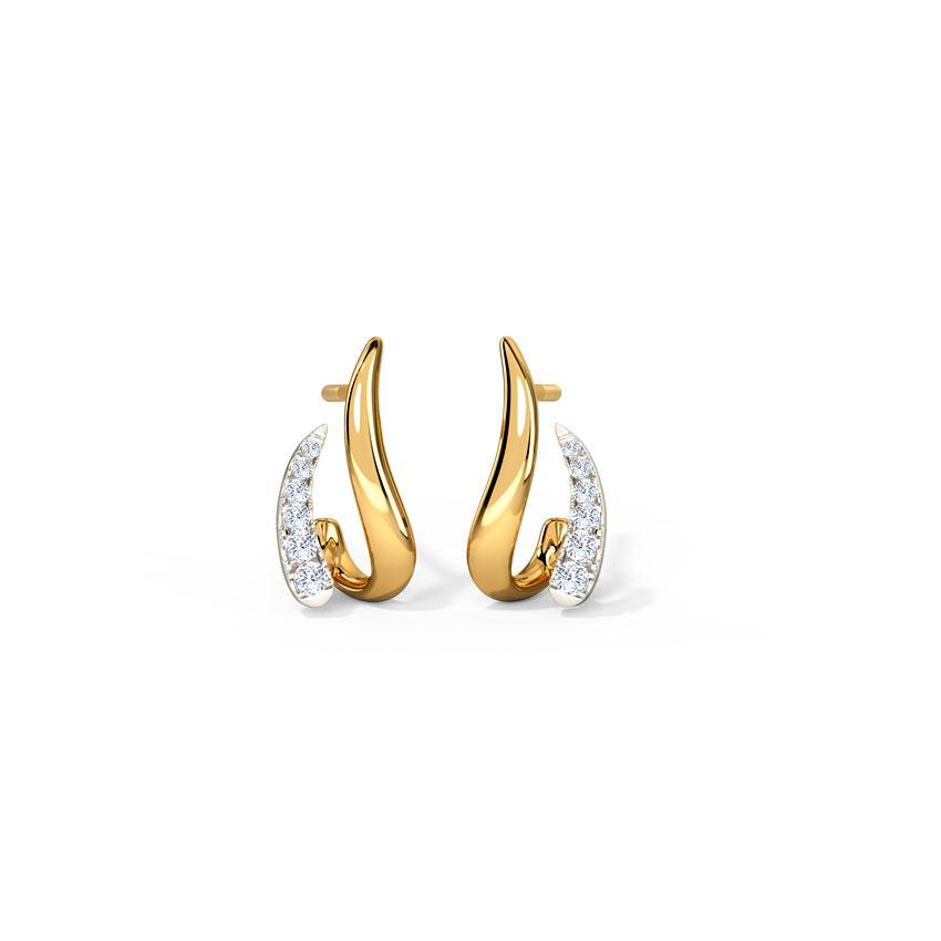 Diamond Earrings 14 Karat Yellow Gold Delicate Arch Diamond Hoop Earrings