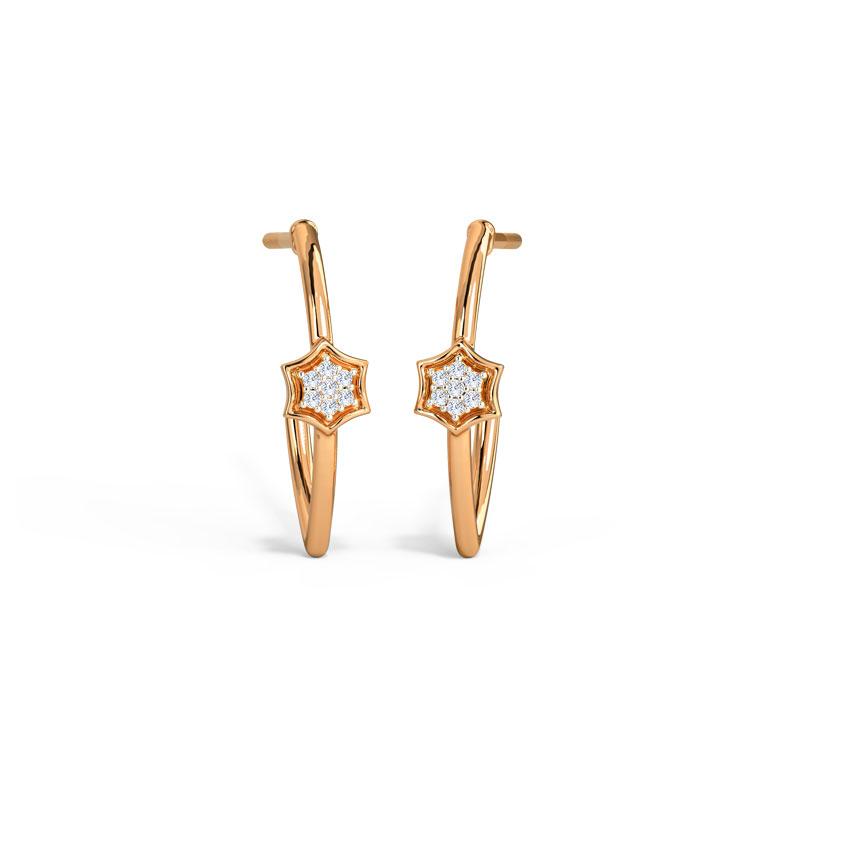 Shining Floret Hoop Earrings