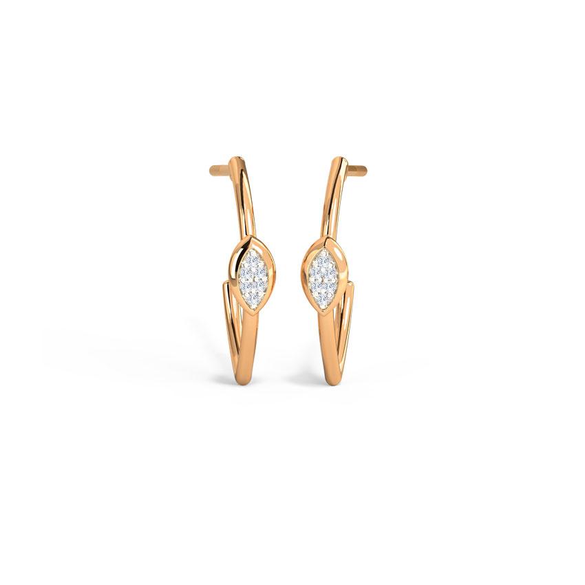Glittering Marquise Hoop Earrings