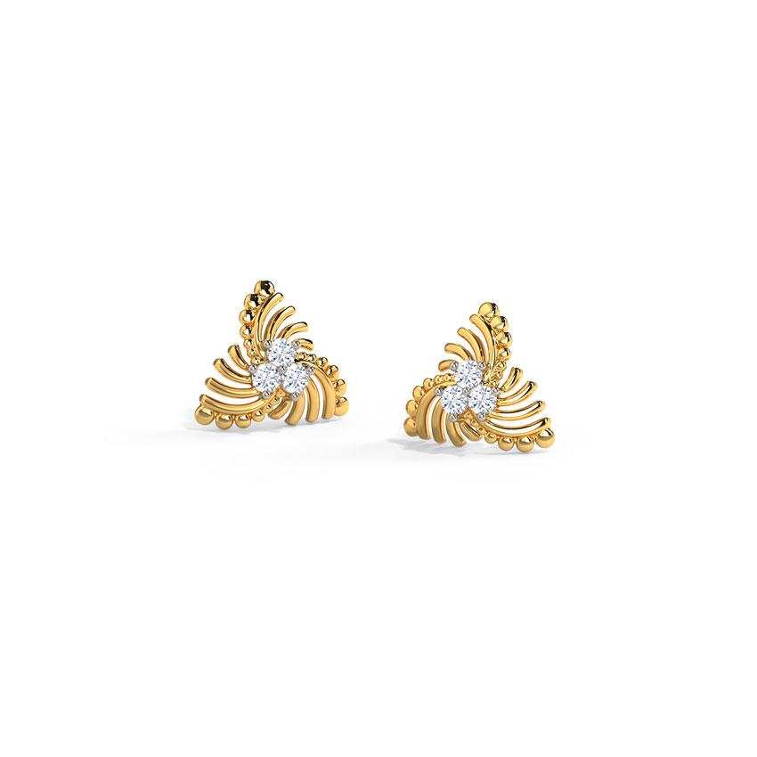 Diamond Earrings 14 Karat Yellow Gold Swirly Diamond Stud Earrings