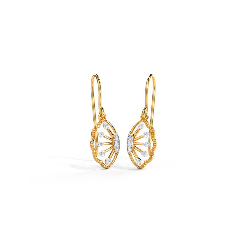 Diamond Earrings 14 Karat Yellow Gold Glimmer Diamond Drop Earrings