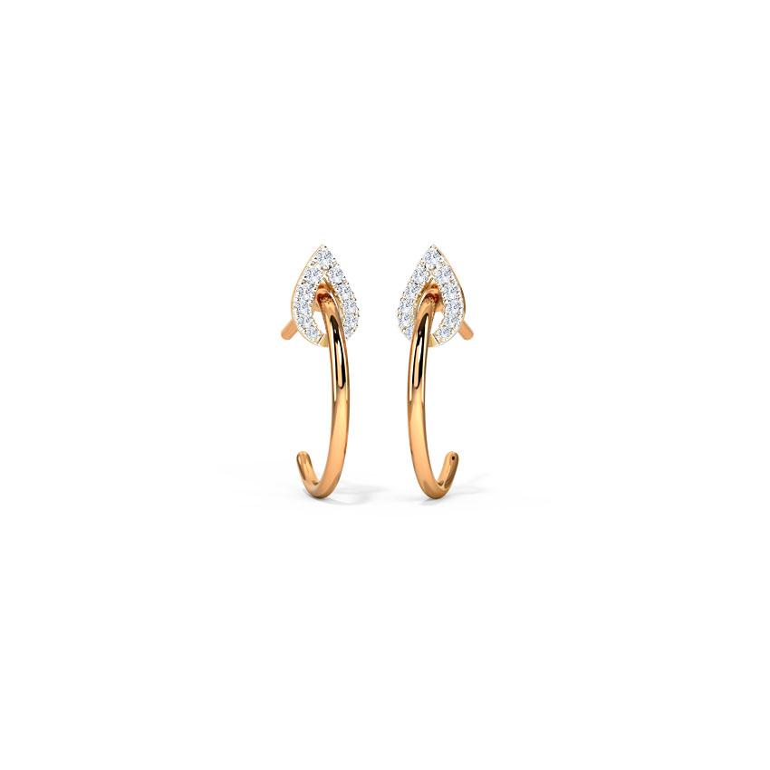 Leafy Sparkle Hoop Earrings