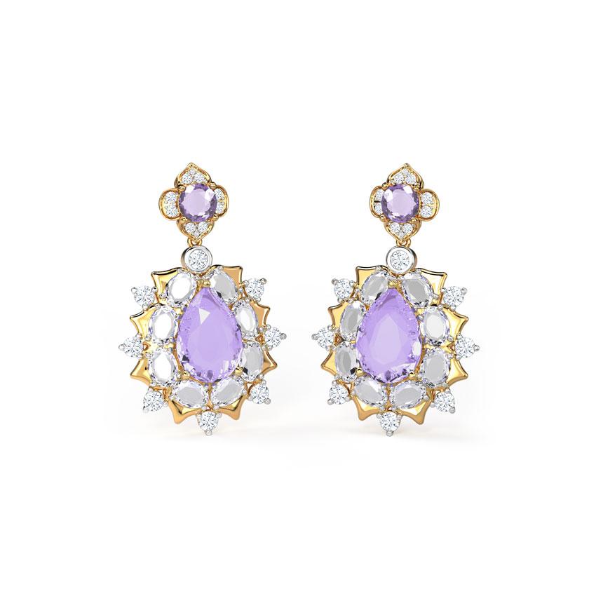 Diamond,Gemstone Earrings 14 Karat Yellow Gold Glinting Glorious Gemstone Drop Earrings