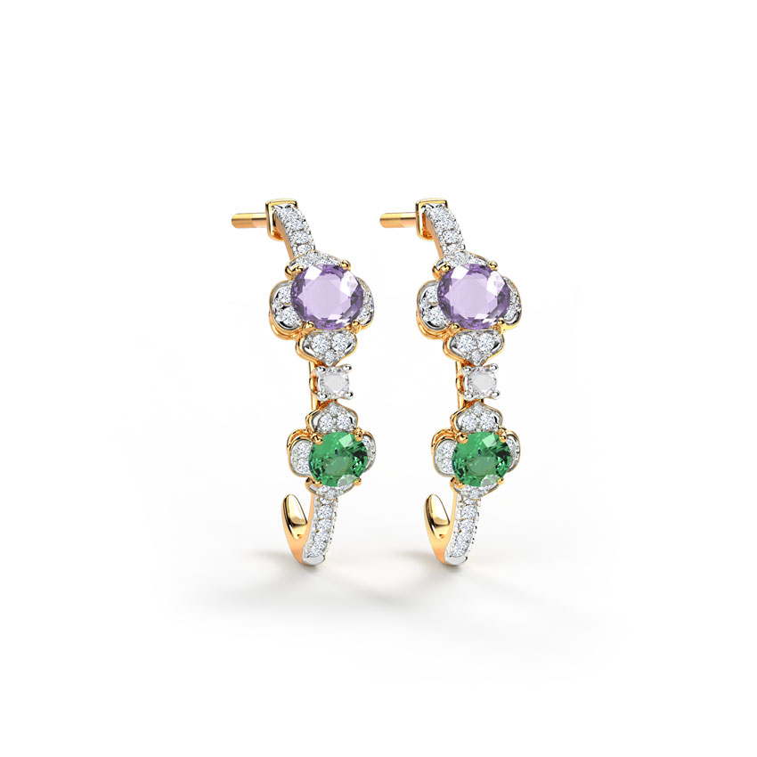 Diamond,Gemstone Earrings 14 Karat Yellow Gold Magnificent Floret Hoop Earrings