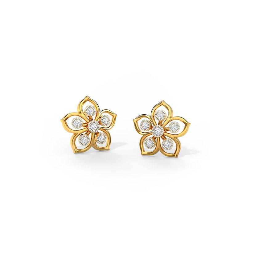 Diamond Earrings 14 Karat Yellow Gold Glorious Floret Diamond Stud Earrings