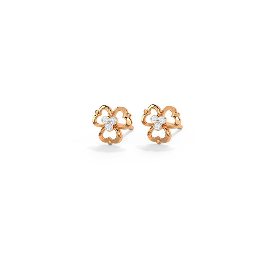 Diamond Earrings 14 Karat Rose Gold Delicate Florid Diamond Stud Earrings