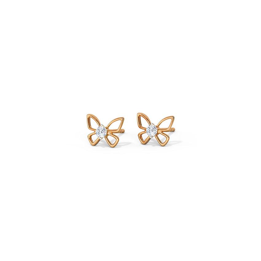 Diamond Earrings 14 Karat Rose Gold Glinting Butterfly Diamond Stud Earrings