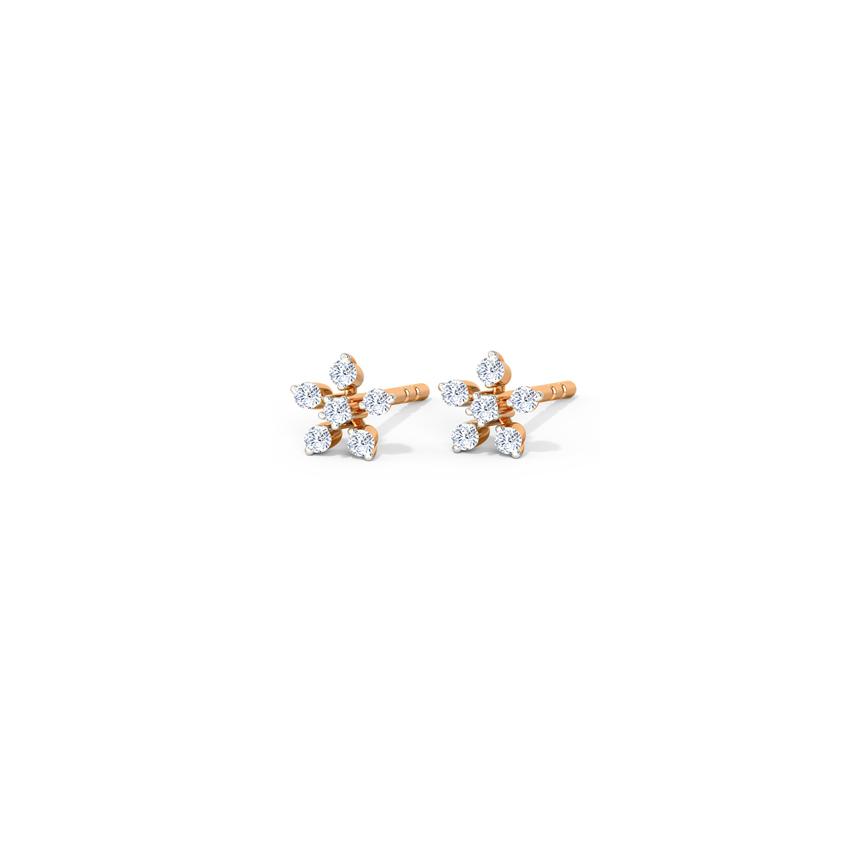 Diamond Earrings 14 Karat Rose Gold Shiny Daisy Diamond Stud Earrings