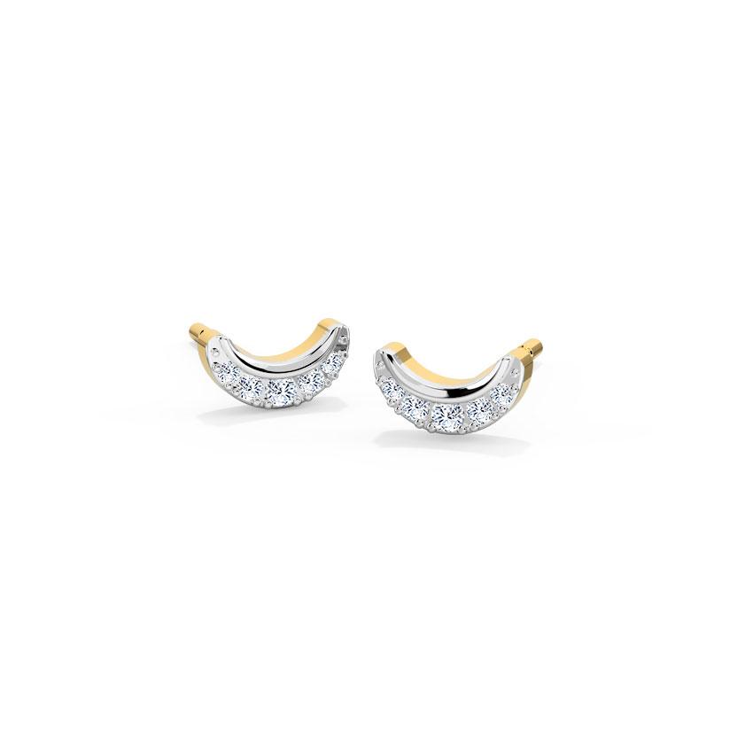 Diamond Earrings 14 Karat Yellow Gold Crescent Diamond Stud Earrings