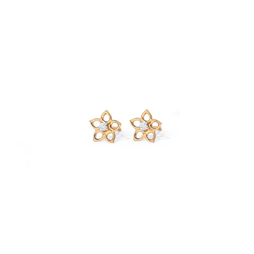 Diamond Earrings 14 Karat Rose Gold Full Bloom Stud Earrings