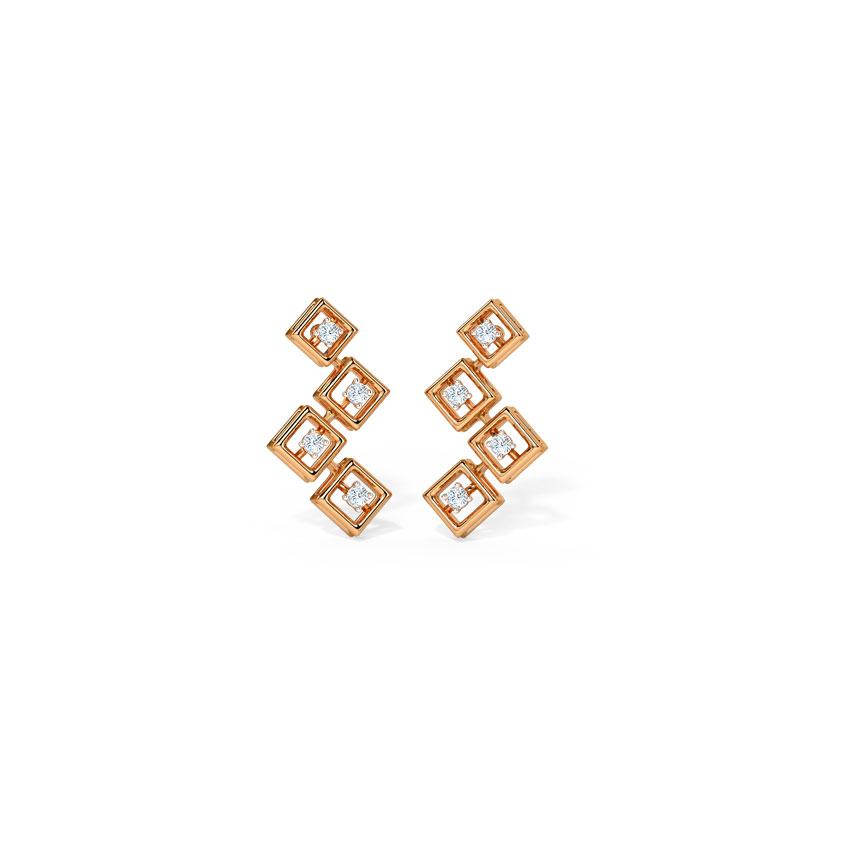 Diamond Earrings 14 Karat Rose Gold Geometric Gleam Diamond Stud Earrings
