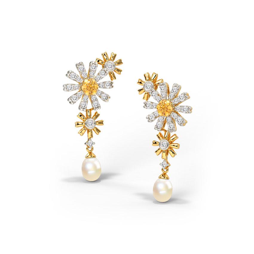 Diamond,Gemstone Earrings 14 Karat Yellow Gold Dreamy Daisy Gemstone Drop Earrings