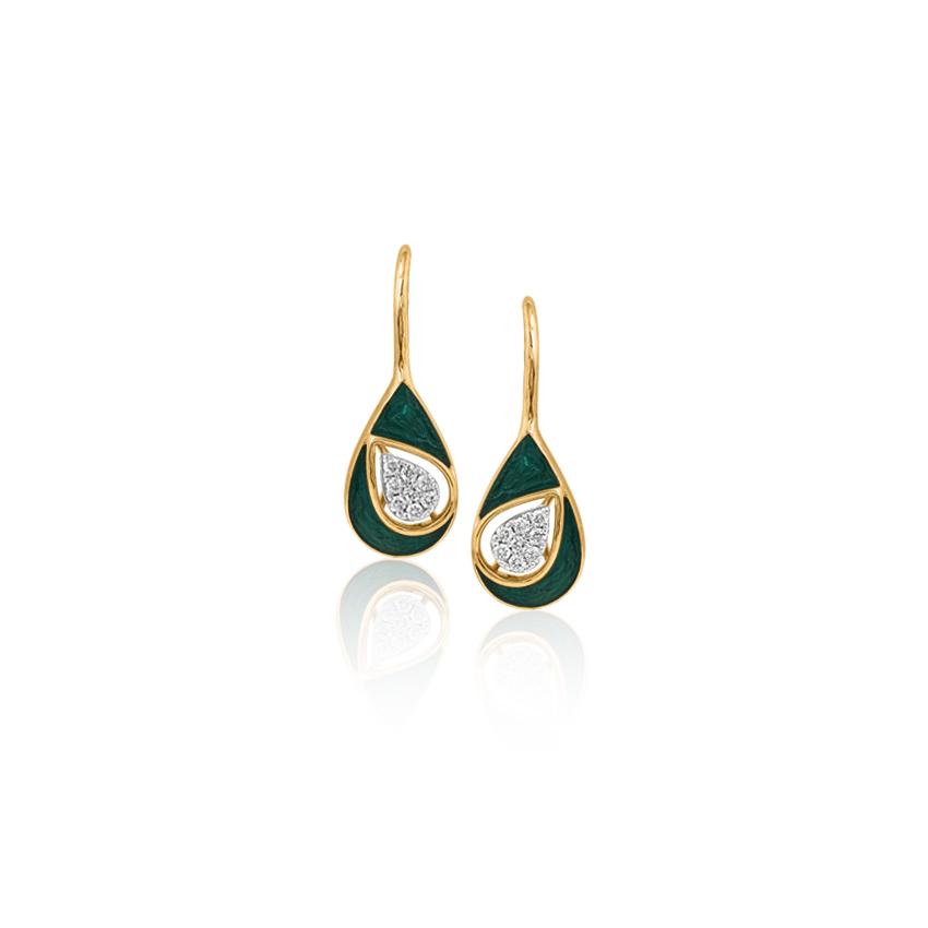 Diamond Earrings 14 Karat Yellow Gold Perky Pear Drop Earrings