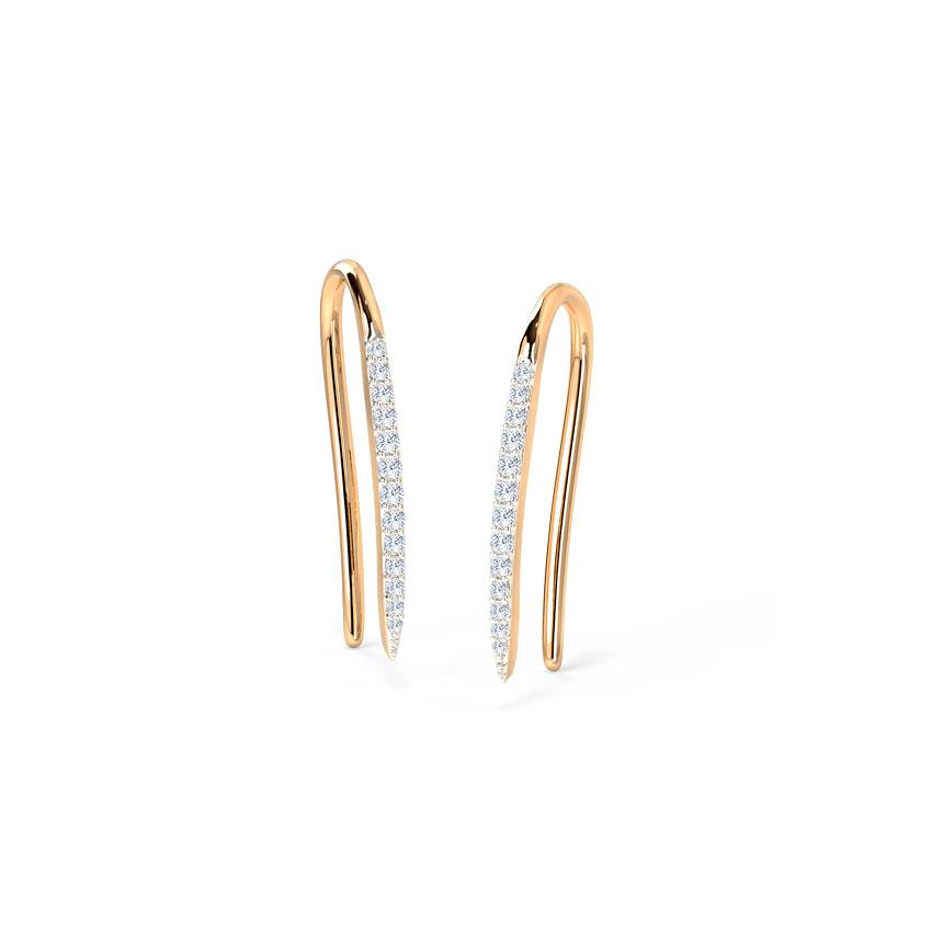 Diamond Earrings 14 Karat Rose Gold Sleek Shimmer Diamond Drop Earrings
