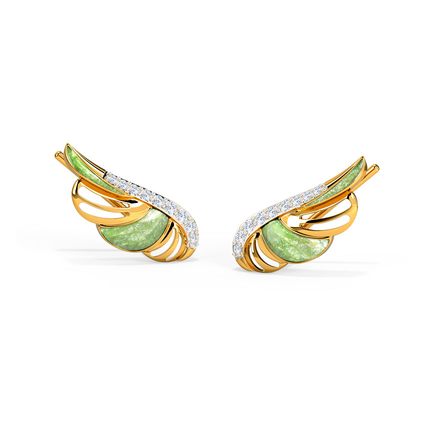 Diamond Earrings 14 Karat Yellow Gold Ornate Wings Diamond Ear Cuffs