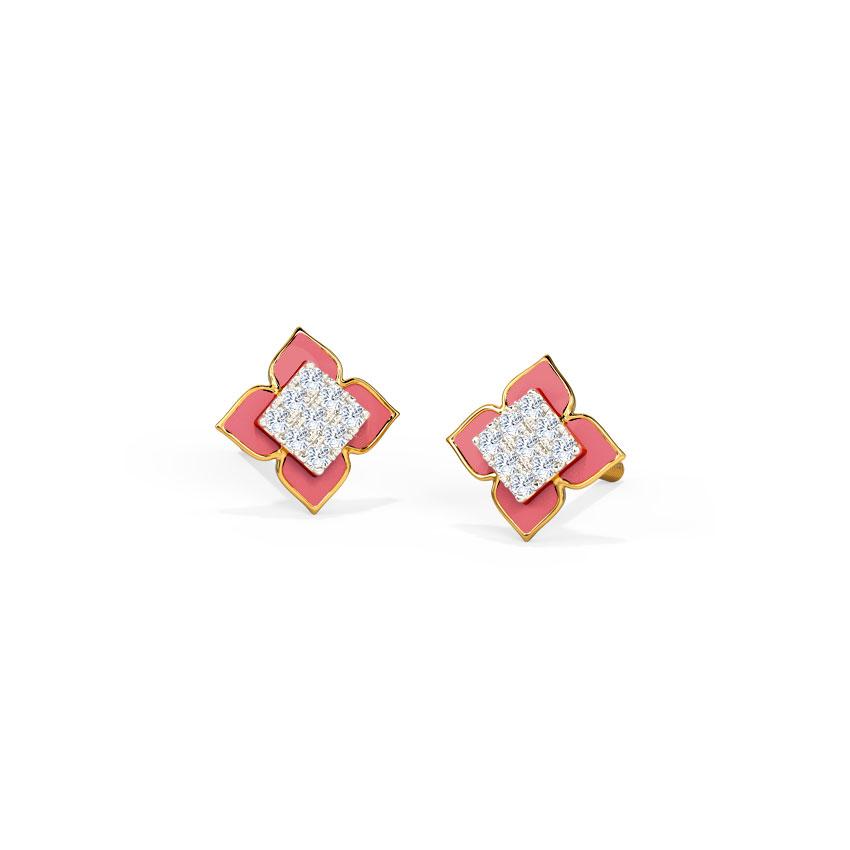 Crimson Cluster Stud Earrings