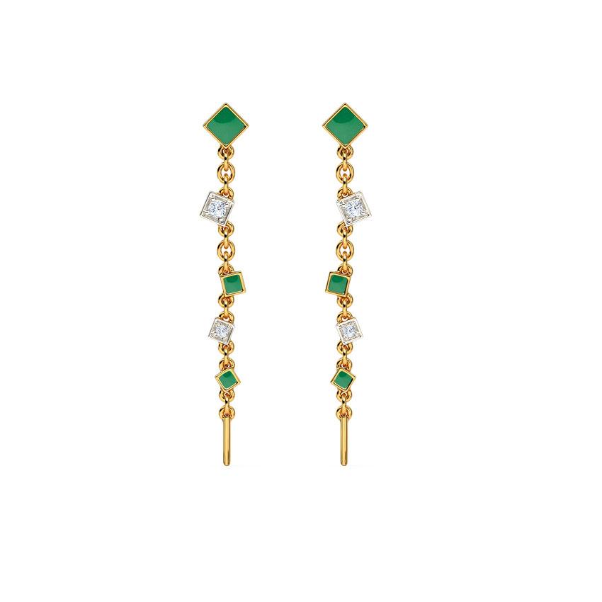 Diamond Earrings 14 Karat Yellow Gold Verdant Quad Drop Earrings