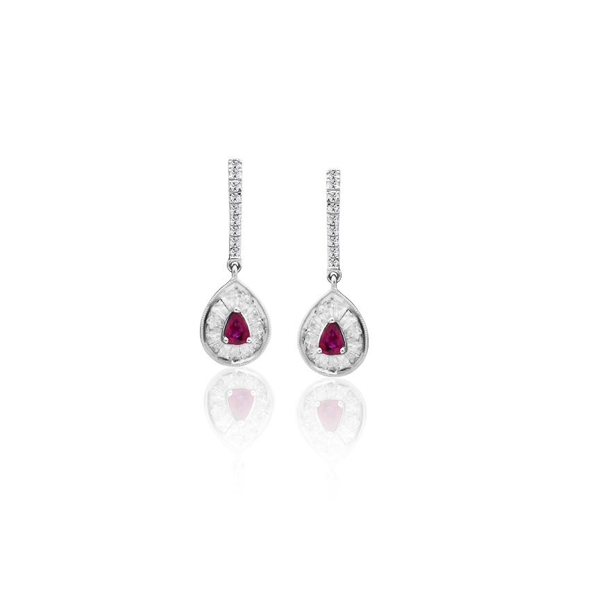 Diamond,Gemstone Earrings 18 Karat White Gold Valerie Pleasing Gemstone Drop Earrings
